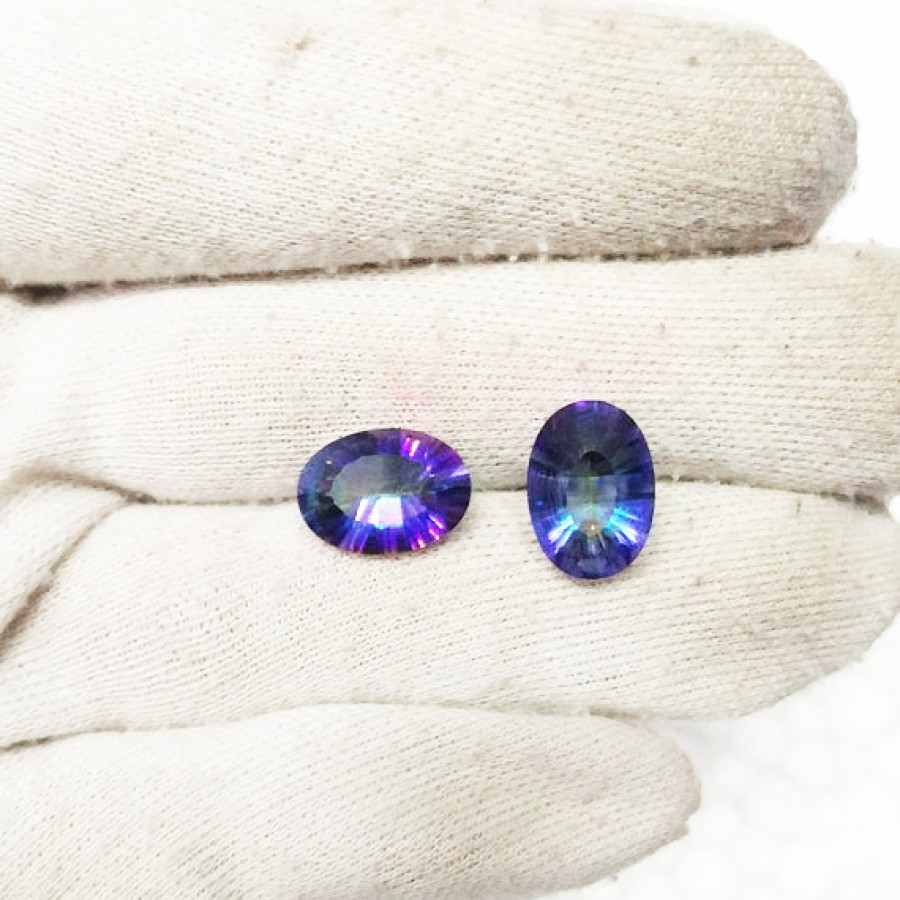 Beautiful Midnight MYSTIC TOPAZ Gemstone, AAA Quality Faceted Gemstone, Size 14x10 mm Oval & 5.50 ct Weight Per Piece, Multicolor Gemstone, Loose Gemstones