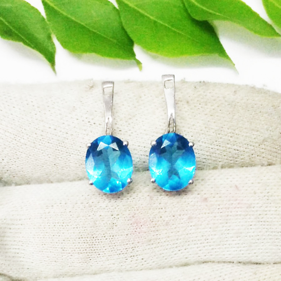 Amazing SWISS BLUE TOPAZ Gemstone Earrings, Birthstone Earrings, 925 Sterling Silver Earrings, Handmade Earrings, Russian Lock Earrings, Gift Earrings