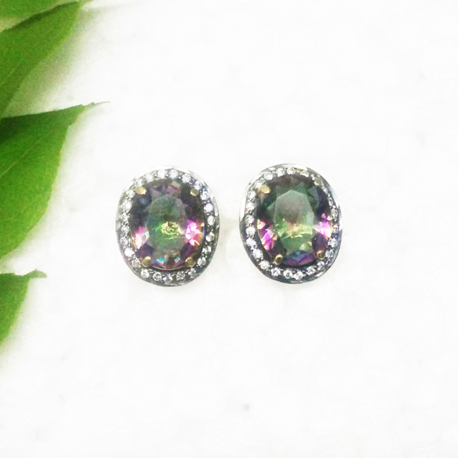 Exotic MIDNIGHT MYSTIC TOPAZ Gemstone Earrings, Birthstone Earrings, 925 Sterling Silver Gold Plated Earrings, Fashion Handmade Earrings, Stud Earrings, Gift Earrings
