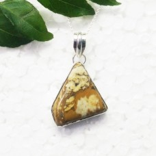 Beautiful NATURAL PICTURE JASPER Gemstone Pendant, Birthstone Pendant, 925 Sterling Silver Pendant, Fashion Handmade Pendant, Free Chain, Gift Pendant