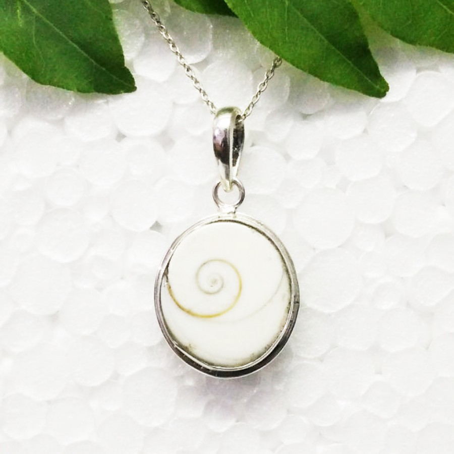 Exclusive NATURAL SHIVA EYE SHELL Gemstone Pendant, Birthstone Pendant, 925 Sterling Silver Pendant, Fashion Handmade Pendant, Free Chain, Gift Pendant