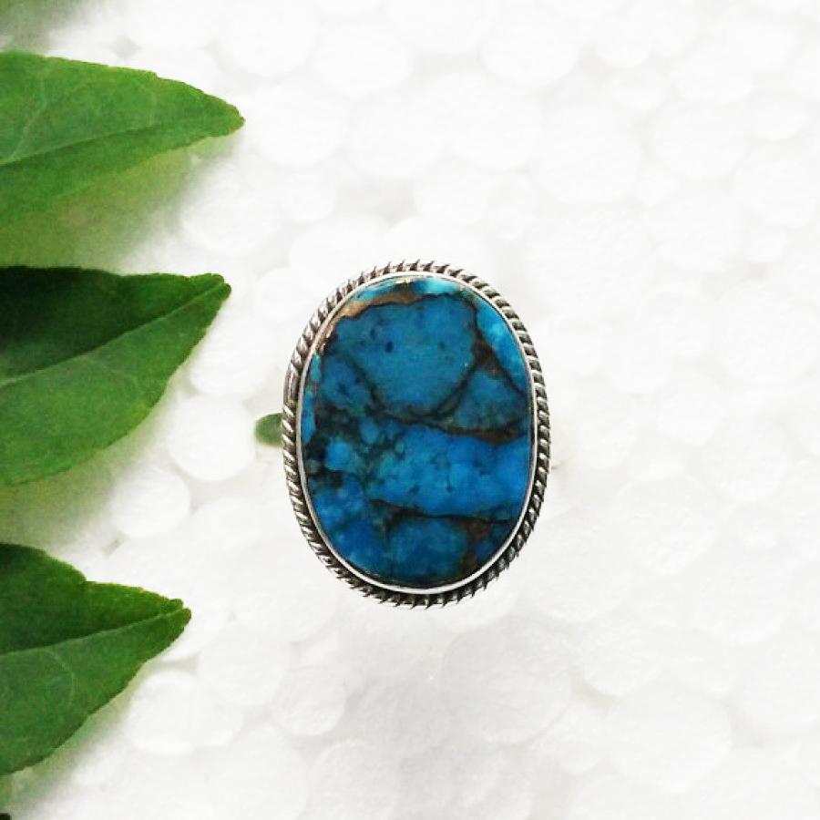Beautiful NATURAL BLUE COPPER TURQUOISE Gemstone Ring, Birthstone Ring, 925 Sterling Silver Ring, Fashion Handmade Ring, All Ring Size, Gift Ring