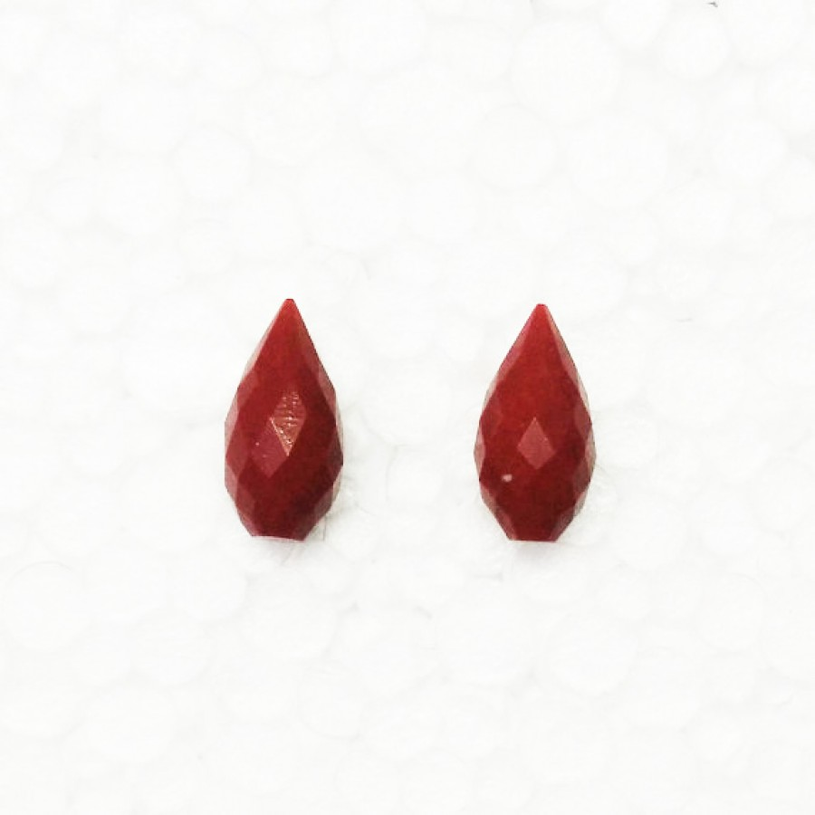 Awesome RED CORAL Gemstone, AAA Quality Faceted Gemstone, Size 18x9 mm Drop & 8.30 ct Weight Per Piece, Red Gemstone, Loose Gemstones