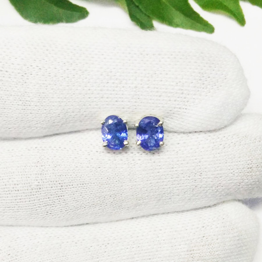 Exclusive NATURAL TANZANITE Gemstone Earrings, Birthstone Earrings, 925 Sterling Silver Earrings, Fashion Handmade Earrings, Stud Earrings, Gift Earrings