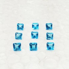 Gorgeous SWISS BLUE TOPAZ Gemstone, AAA Quality Faceted Gemstone, Size 5x5 mm Square & 0.45 ct Weight Per Piece, Blue Gemstone, Loose Gemstones