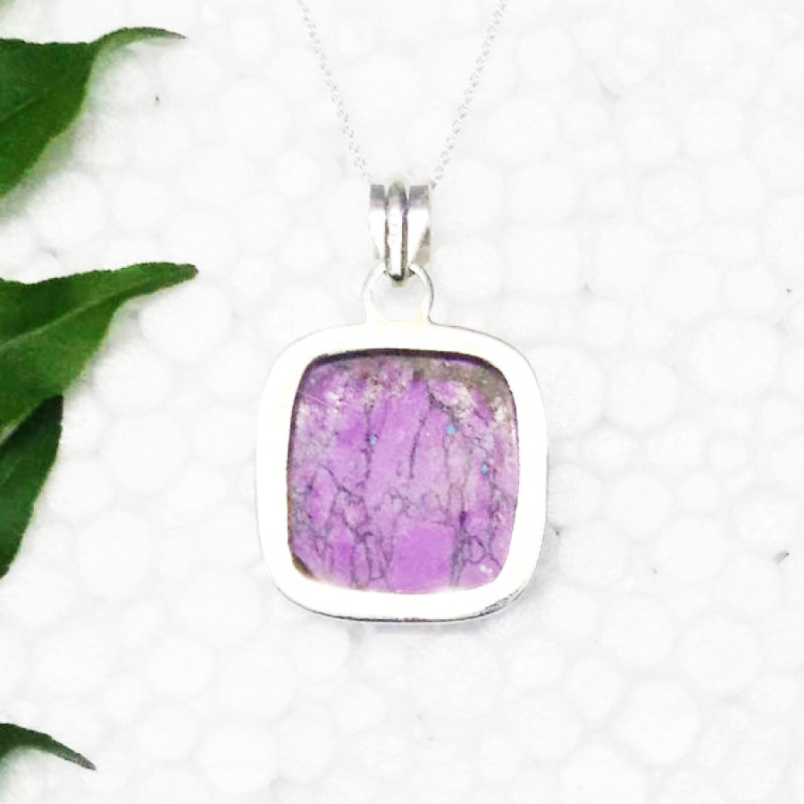 Attractive PURPLE TURQUOISE Gemstone Pendant, Birthstone Pendant, 925 Sterling Silver Pendant, Fashion Handmade Pendant, Free Chain, Gift Pendant