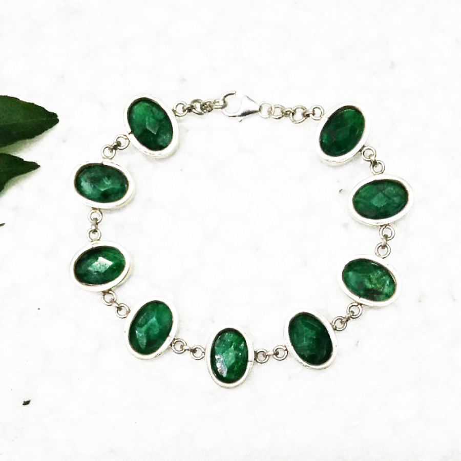 Attractive NATURAL INDIAN EMERALD Gemstone Bracelet, Birthstone Bracelet, 925 Sterling Silver Bracelet, Fashion Handmade Bracelet, Adjustable Size, Gift Bracelet