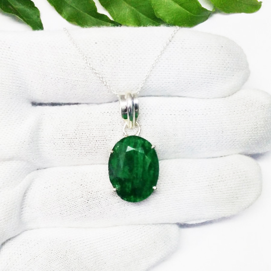 Awesome NATURAL INDIAN EMERALD Gemstone Pendant, Birthstone Pendant, 925 Sterling Silver Pendant, Fashion Handmade Pendant, Free Chain, Gift Pendant