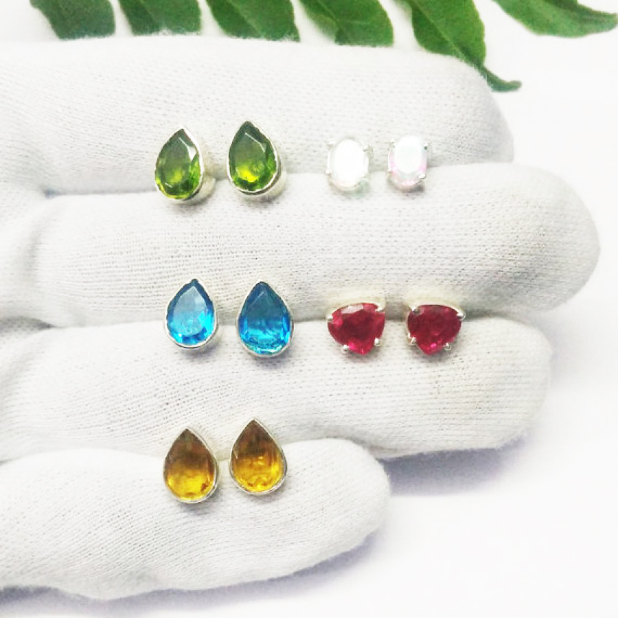 Awesome 5 PAIRS Gemstone Earrings, Birthstone Earrings, 925 Sterling Silver Earrings, Fashion Handmade Earrings, Weekdays Stud Earrings, Gift Earrings