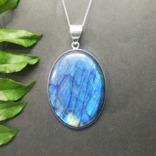 Exclusive NATURAL BLUE FIRE LABRADORITE Gemstone Pendant, Birthstone Pendant, 925 Sterling Silver Pendant, Fashion Handmade Pendant, Free Chain, Gift Pendant