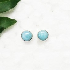 Exclusive NATURAL DOMINICAN LARIMAR Gemstone Earrings, Birthstone Earrings, 925 Sterling Silver Earrings, Fashion Handmade Earrings, Stud Earrings, Gift Earrings