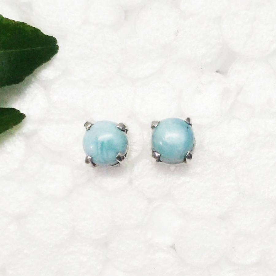 Gorgeous NATURAL DOMINICAN LARIMAR Gemstone Earrings, Birthstone Earrings, 925 Sterling Silver Earrings, Fashion Handmade Earrings, Stud Earrings, Gift Earrings