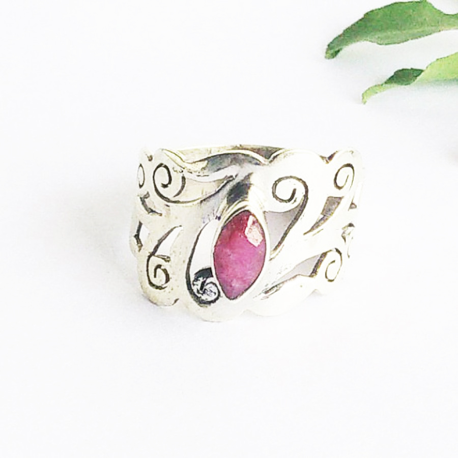Beautiful NATURAL INDIAN RUBY Gemstone Ring, Birthstone Ring, 925 Sterling Silver Ring, Fashion Handmade Ring, All Ring Size, Gift Ring