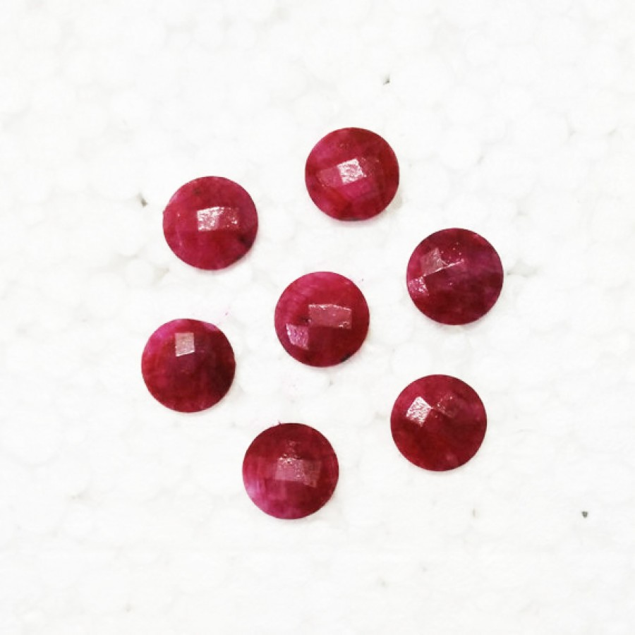 Amazing NATURAL INDIAN RUBY Gemstone, AAA Quality Faceted Gemstone, Size 14x14 mm Round Checker Cut & 7.00 ct Weight Per Piece, Red Gemstone, Loose Gemstones