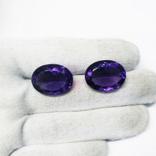 Exotic AFRICAN PURPLE AMETHYST Gemstone, AAA Quality Faceted Gemstone, Size 23x17 mm Oval & 21.1 ct Weight Per Piece, Purple Gemstone, Loose Gemstones