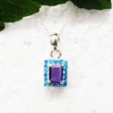 Awesome PURPLE AMETHYST / BLUE TOPAZ Gemstone Pendant, Birthstone Pendant, 925 Sterling Silver Pendant, Fashion Handmade Pendant, Free Chain, Gift Pendant