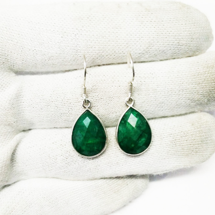 Beautiful NATURAL INDIAN EMERALD Gemstone Earrings, Birthstone Earrings, 925 Sterling Silver Earrings, Fashion Handmade Earrings, Dangle Earrings, Gift Earrings