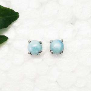 Gorgeous NATURAL DOMINICAN LARIMAR Gemstone Earrings, Birthstone Earrings, 925 Sterling Silver Earrings, Handmade Earrings, Stud Earrings