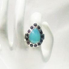 Exclusive NATURAL BLUE CHALCEDONY / RED GARNET Gemstone Ring, Birthstone Ring, 925 Sterling Silver Ring, Fashion Handmade Ring, All Ring Size, Gift Ring