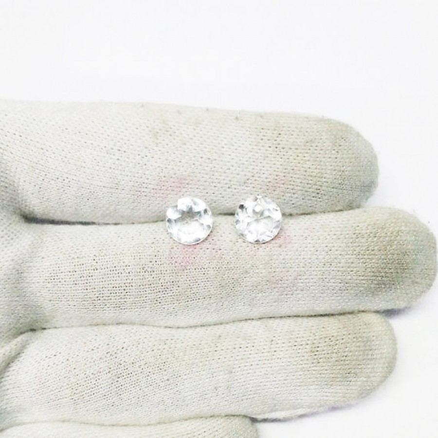 Genuine NATURAL WHITE TOPAZ Gemstone, AAA Quality Faceted Gemstone, Size 7x7 mm Round & 1.60 ct Weight Per Piece, White Gemstone, Loose Gemstones