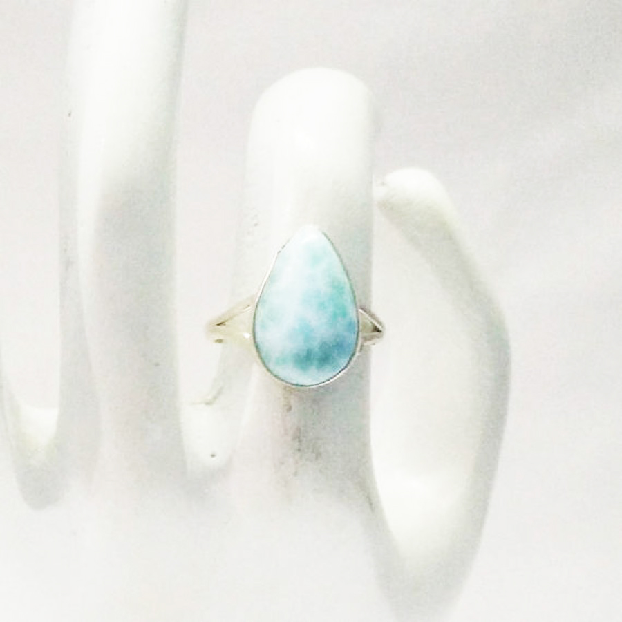 Genuine NATURAL DOMINICAN LARIMAR Gemstone Ring, Birthstone Ring, 925 Sterling Silver Ring, Fashion Handmade Ring, All Ring Size, Gift Ring