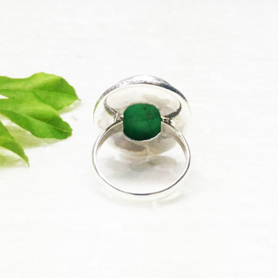 Beautiful NATURAL INDIAN EMERALD Gemstone Ring, Birthstone Ring, 925 Sterling Silver Ring, Fashion Ring, Fashion Handmade Ring, All Ring Size, Gift Ring