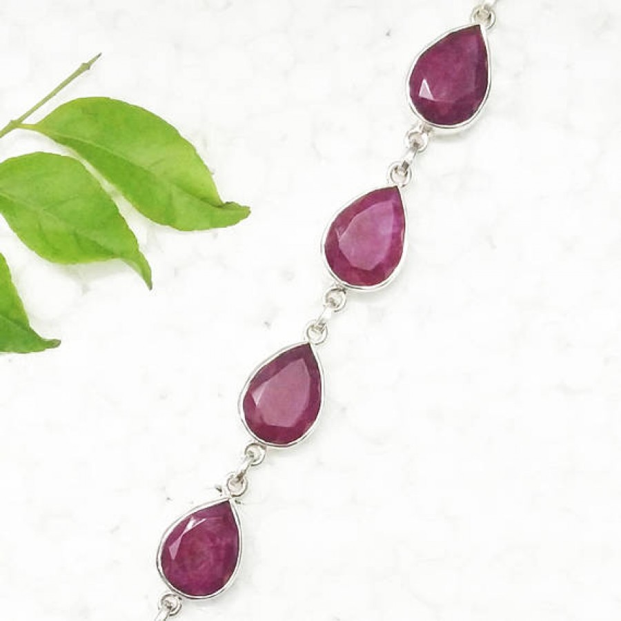 Amazing NATURAL INDIAN RUBY Gemstone Bracelet, Birthstone Bracelet, 925 Sterling Silver Bracelet, Fashion Handmade Bracelet, Adjustable Size, Gift Bracelet