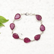 Amazing NATURAL INDIAN RUBY Gemstone Bracelet, Birthstone Bracelet, 925 Sterling Silver Bracelet, Fashion Handmade Bracelet, Adjustable Size