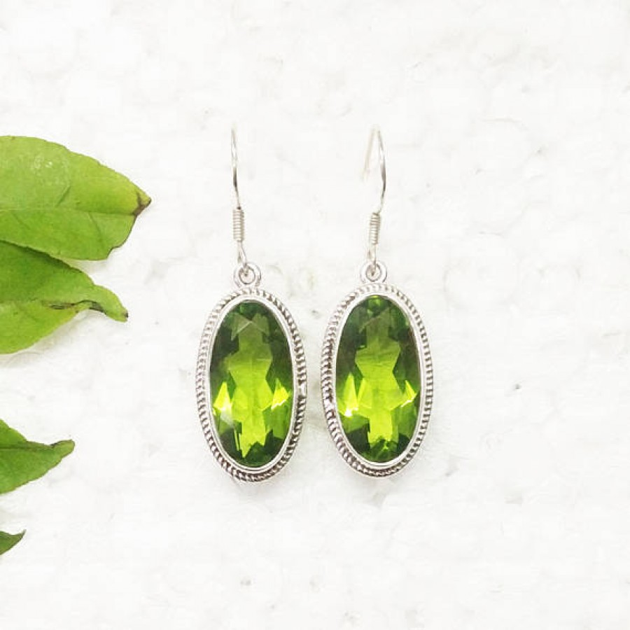 Attractive GREEN PERIDOT Gemstone Earrings, Birthstone Earrings, 925 Sterling Silver Earrings, Fashion Handmade Earrings, Dangle Earrings, Gift Earrings