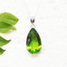 Beautiful GREEN PERIDOT Gemstone Pendant, Birthstone Pendant, 925 Sterling Silver Pendant, Fashion Handmade Pendant, Free Chain, Gift Pendant