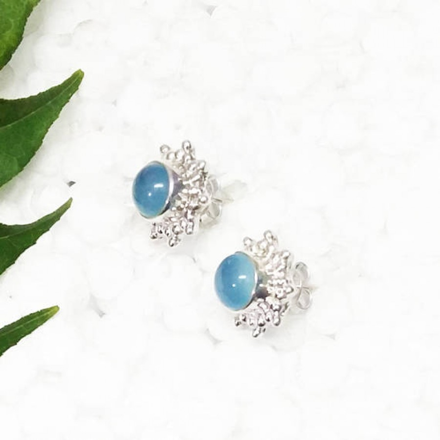 Amazing BLUE CHALCEDONY Gemstone Earrings, Birthstone Earrings, 925 Sterling Silver Earrings, Fashion Handmade Earrings, Stud Earrings, Gift Earrings