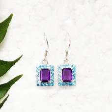 Exotic PURPLE AMETHYST / BLUE TOPAZ Gemstone Earrings, Birthstone Earrings, 925 Sterling Silver Earrings, Fashion Handmade Earrings, Dangle Earrings, Gift Earrings