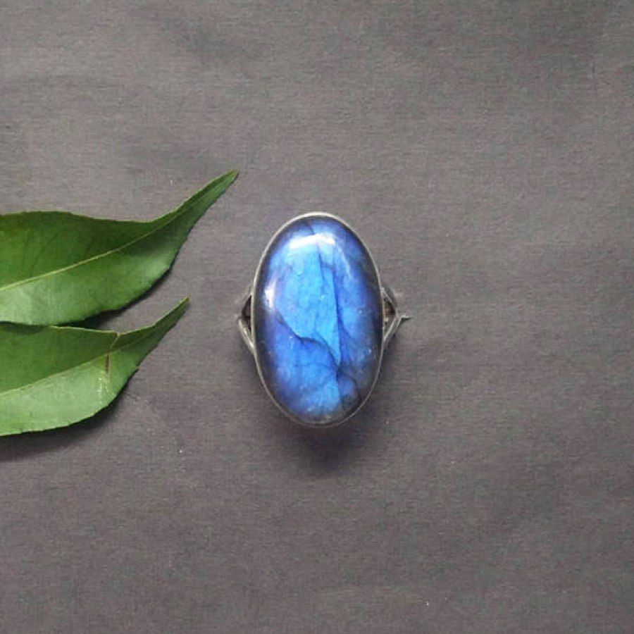 Exclusive NATURAL BLUE FIRE LABRADORITE Gemstone Ring, Birthstone Ring, 925 Sterling Silver Ring, Fashion Handmade Ring, All Ring Size, Gift Ring