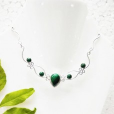 Exclusive NATURAL MALACHITE Gemstone Necklace, Birthstone Necklace, 925 Sterling Silver Necklace, Fashion Handmade Necklace, Adjustable Size, Gift Necklace