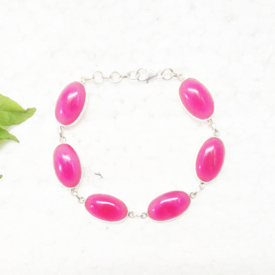 Beautiful PINK AGATE Gemstone Bracelet, Birthstone Bracelet, 925 Sterling Silver Bracelet, Fashion Handmade Bracelet, Adjustable Size, Gift Bracelet