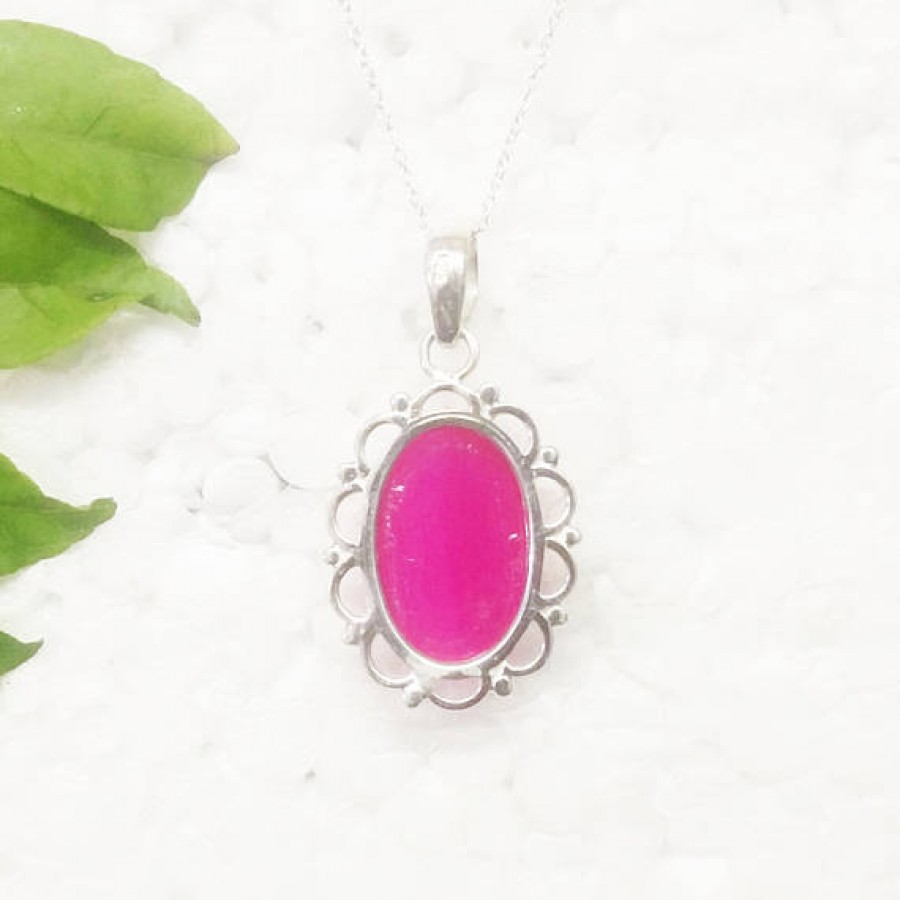 Attractive PINK AGATE Gemstone Pendant, Birthstone Pendant, 925 Sterling Silver Pendant, Fashion Handmade Pendant, Free Chain, Gift Pendant