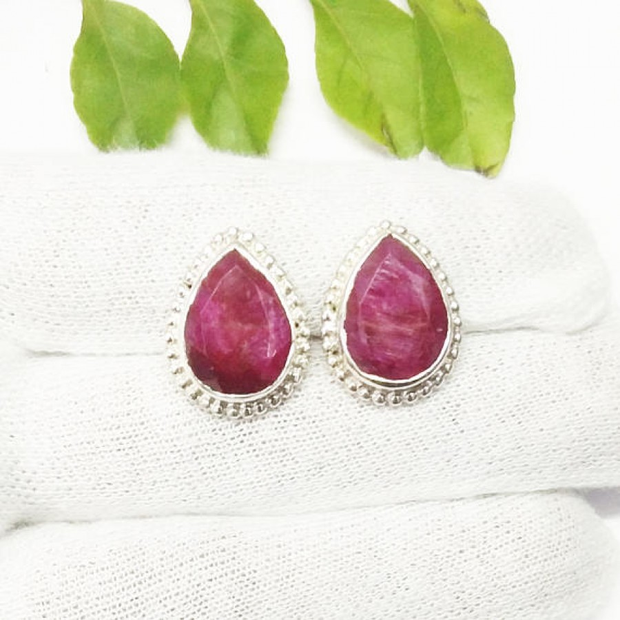 Awesome NATURAL INDIAN RUBY Gemstone Earrings, Birthstone Earrings, 925 Sterling Silver Earrings, Fashion Handmade Earrings, Stud Earrings, Gift Earrings