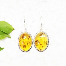 Amazing BALTIC AMBER Gemstone Earrings, Birthstone Earrings, 925 Sterling Silver Earrings, Fashion Handmade Earrings, Dangle Earrings, Gift Earrings