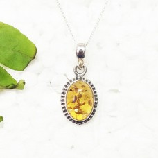 Exotic BALTIC AMBER Gemstone Pendant, Birthstone Pendant, 925 Sterling Silver Pendant, Fashion Handmade Pendant, Free Chain, Gift Pendant
