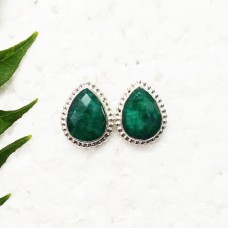 Awesome NATURAL INDIAN EMERALD Gemstone Earrings, Birthstone Earrings, 925 Sterling Silver Earrings, Fashion Handmade Earrings, Stud Earrings, Gift Earrings