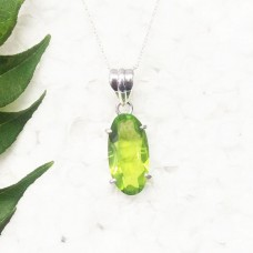 Exclusive GREEN PERIDOT Gemstone Pendant, Birthstone Pendant, 925 Sterling Silver Pendant, Fashion Handmade Pendant, Free Chain, Gift Pendant
