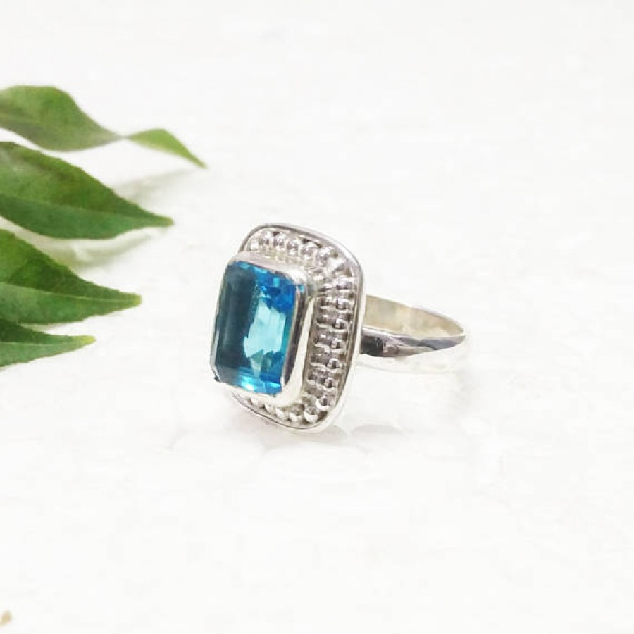 Amazing LONDON BLUE TOPAZ Gemstone Ring, Birthstone Ring, 925 Sterling Silver Ring, Fashion Handmade Ring, All Ring Size, Gift Ring