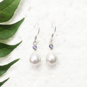 Awesome NATURAL PEARL / IOLITE Gemstone Earrings, Birthstone Earrings, 925 Sterling Silver Earrings, Handmade Earrings, Dangle Earrings, Gift Earrings