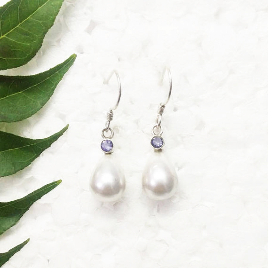 Awesome NATURAL PEARL / IOLITE Gemstone Earrings, Birthstone Earrings, 925 Sterling Silver Earrings, Fashion Handmade Earrings, Dangle Earrings, Gift Earrings