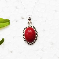 Beautiful RED CORAL Gemstone Pendant, Birthstone Pendant, 925 Sterling Silver Pendant, Fashion Handmade Pendant, Free Chain, Gift Pendant