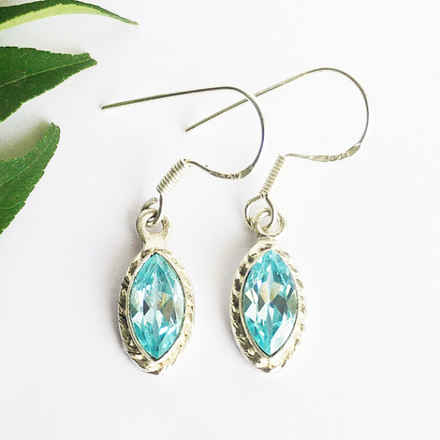 Beautiful NATURAL SWISS BLUE TOPAZ Gemstone Earrings, Birthstone Earrings, 925 Sterling Silver Earrings, Fashion Handmade Earrings, Dangle Earrings, Gift Earrings