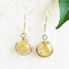 Beautiful NATURAL GOLDEN RUTILE Gemstone Earrings, Birthstone Earrings, 925 Sterling Silver Earrings, Fashion Handmade Earrings, Dangle Earrings, Gift Earrings
