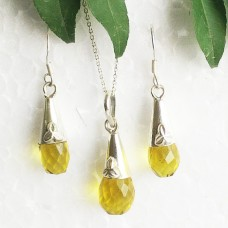 Beautiful YELLOW CITRINE Gemstone Pendant Earrings Set, 925 Sterling Silver Set, Handmade Pendant Set, Birthstone Jewelry, Free Chain, Gift Jewelry
