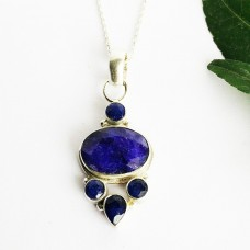 Awesome NATURAL INDIAN BLUE SAPPHIRE Gemstone Pendant, Birthstone Pendant, 925 Sterling Silver Pendant, Fashion Handmade Pendant, Free Chain, Gift Pendant