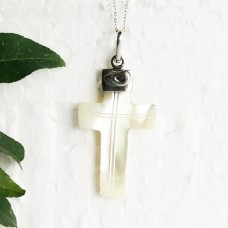 Exclusive MOTHER OF PEARL Gemstone Pendant, Holy Cross Pendant, Healing Energy & Powers, Birthstone Pendant, Fashion Handmade Pendant, Free Chain, Gift Pendant